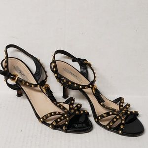 Prada Black w/Gold Studs Patent Leather Heels